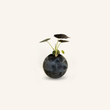 Gala Concrete and lava-rock black sphere by Dirty Roots