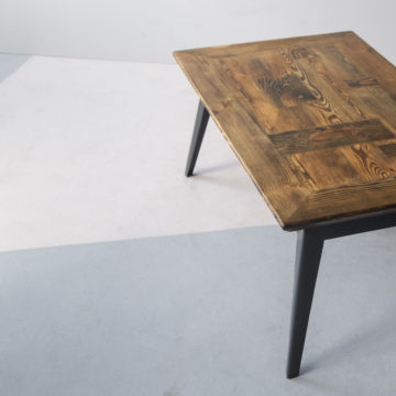 Krijn/Susanne coffee table of construction wood and iron 115x65x46cm lateral view