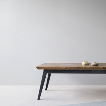 Krijn/Susanne coffee table of construction wood and iron 115x65x46cm front view