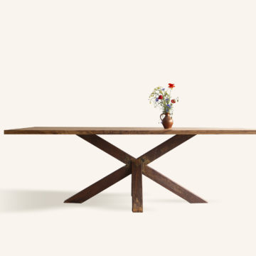 Erika dining table in old oak wood & iron 240x100cm rust coating