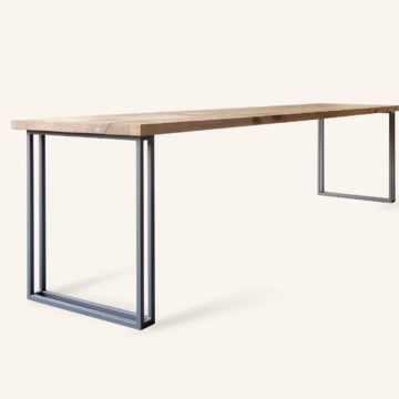 Yael/Loren dining table in birch wood & iron 300x70cm