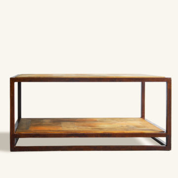 Jeroen coffee table of rusty construction wood and iron 90x90x45cm