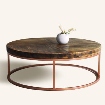 Loire coffee table of construction wood and iron 100x35cm